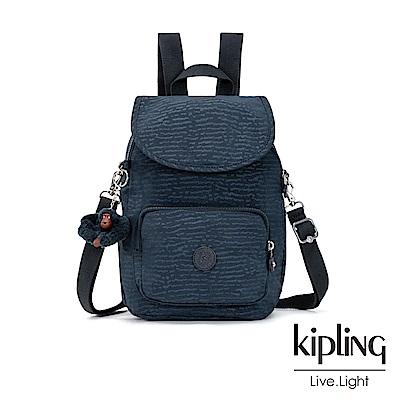 Kipling 文青靛藍紋路拉鍊後背包-CARAF