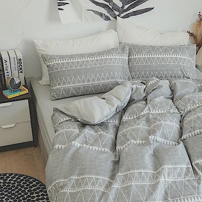 翔仔居家 台灣製 100%精梳棉薄被套&床包4件組-格瑞先生 (雙人)