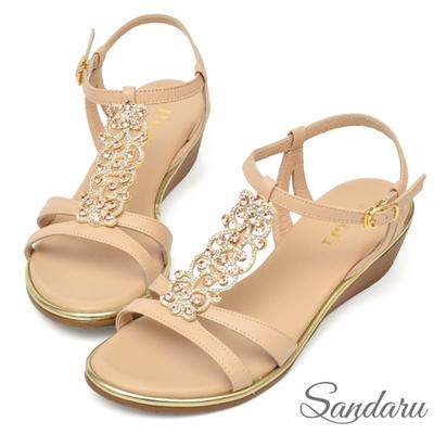 山打努SANDARU-全真皮華麗水鑽滾邊楔型涼鞋-杏