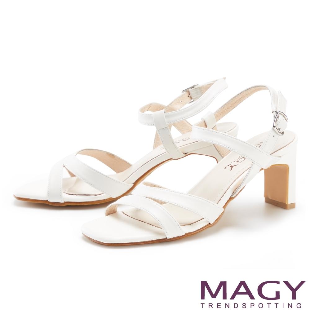 MAGY 細版真皮踝繞帶高跟 女 涼鞋 白色