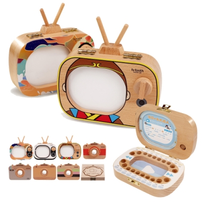 CityShop 木製手工乳牙紀念盒-電視&相機款