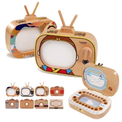 CityShop 木製手工乳牙紀念盒-電視&相機款2入