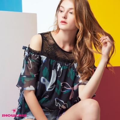 【SHOWCASE】肩網蕾絲拼接挖肩葉子印花雪紡上衣(黑)