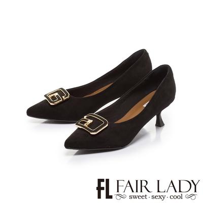 FAIR LADY 優雅小姐 質感G型飾扣尖頭低跟鞋 黑