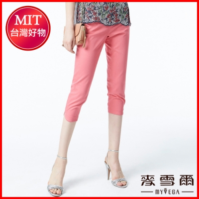麥雪爾 棉質編織拼接鑽飾純色八分褲-粉