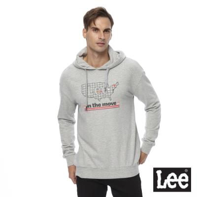 Lee 連帽厚T 美國地圖印花logo 男 麻灰