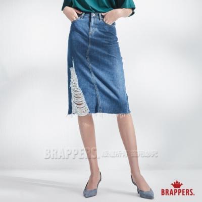 BRAPPERS 女款 Boy friend系列-全棉割破膝下裙-深藍
