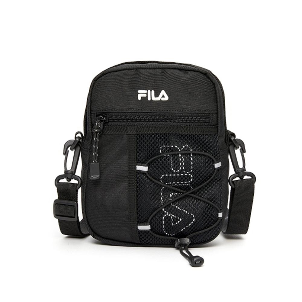FILA LOGO 斜肩包 網繩側背斜跨包-黑 BMV-1601-BK