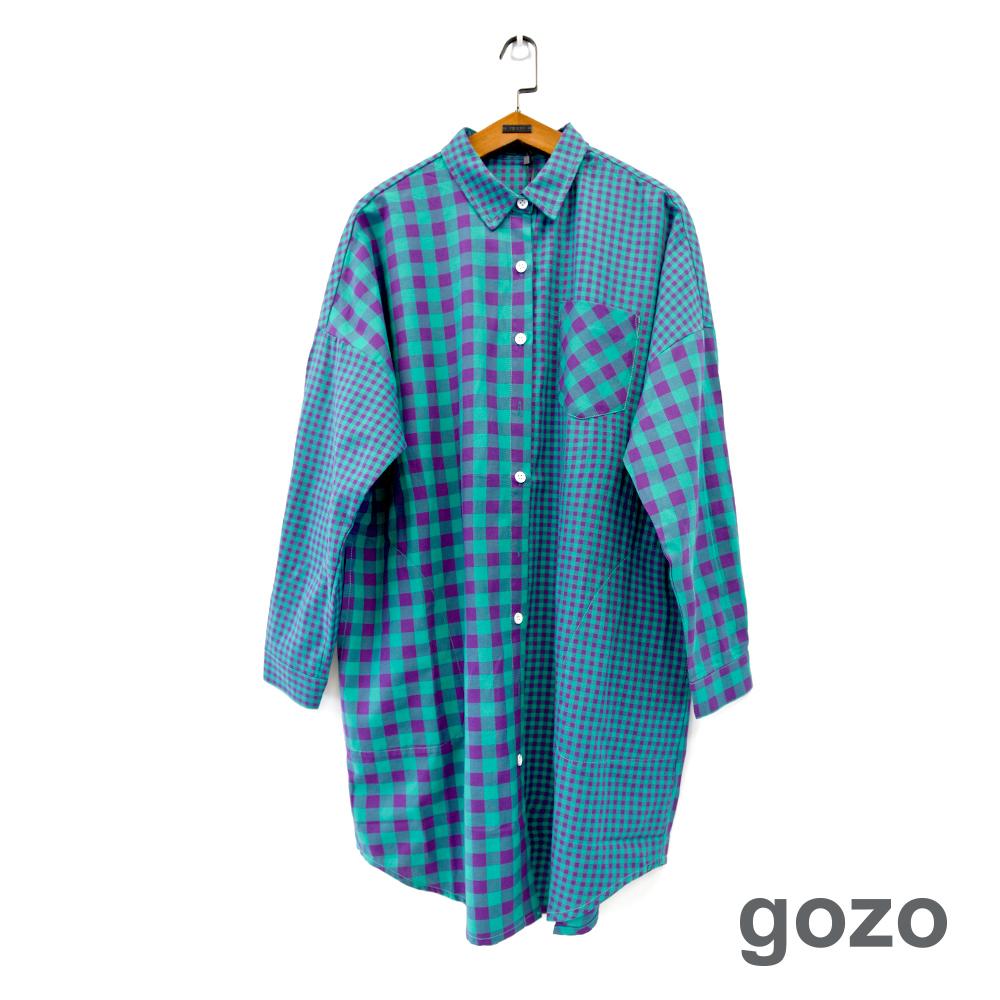 gozo 大小方格拼接長版襯衫洋裝(二色)