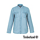 Timberland 女款水洗淡藍牛仔長袖襯衫|A1M95