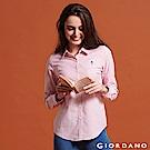 GIORDANO 女裝 Oxford 刺繡彈力牛津紡長袖襯衫-12 紅/白條紋