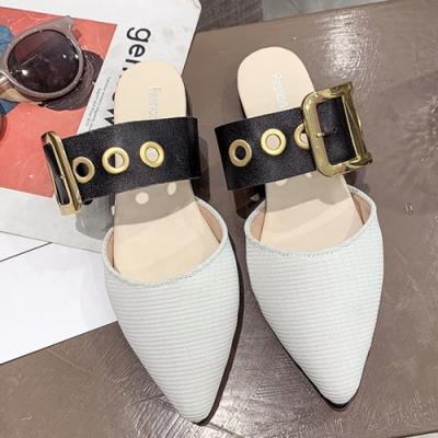 KEITH-WILL時尚鞋館 韓國設計好感風格尖頭穆勒鞋 白