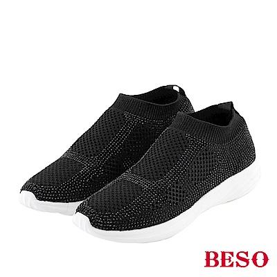 BESO亮彩輕盈 燙鑽束帶飛織休閒鞋~黑