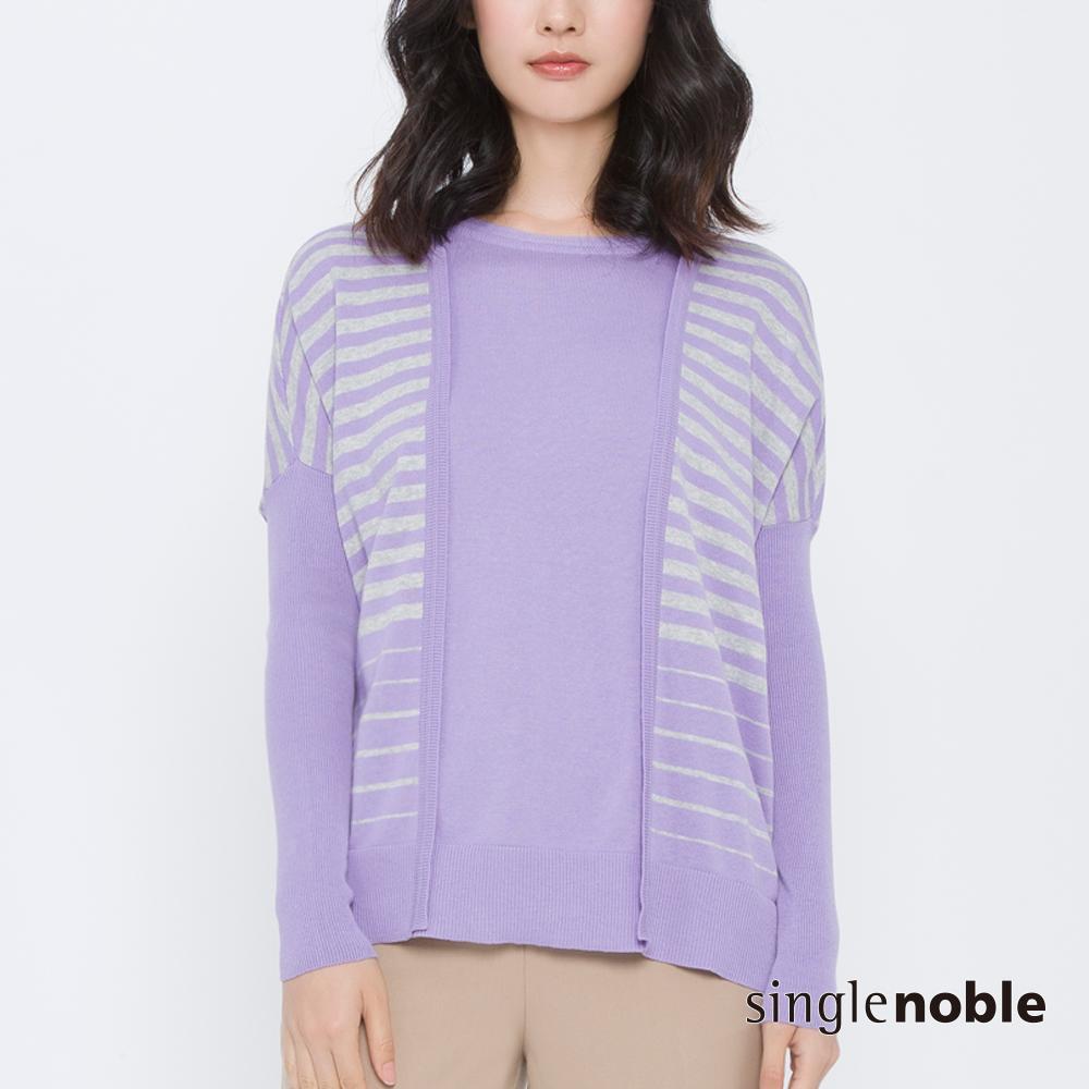 獨身貴族 對比色盤拼接條紋落肩針織衫(2色)