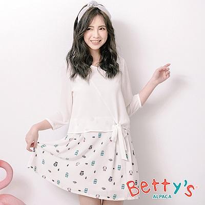 betty's貝蒂思 貓頭鷹印花拼接七分袖洋裝(白色)