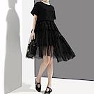 透視感網紗蓬裙拼接洋裝-(共二色)Andstyle