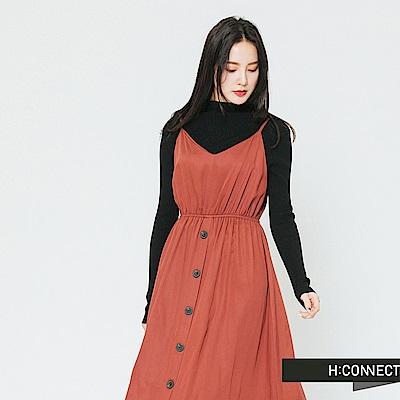 H:CONNECT 韓國品牌 女裝-縮腰排扣細肩帶洋裝-棕