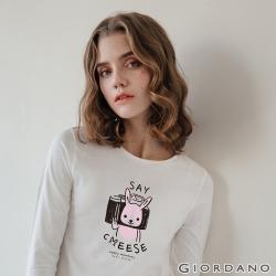 GIORDANO  女裝HAPPY MOMENTS印花長袖T恤- 21 皎雪
