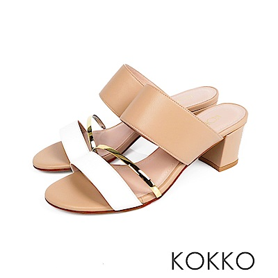 KOKKO - 女王盛宴撞色拼接涼拖粗跟鞋 - 純奶茶