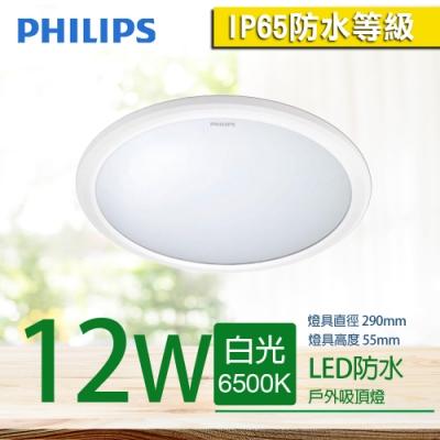 【PHILIPS 飛利浦】防水 恒樂 LED 吸頂燈 12W 白光 ( IP65 戶外)