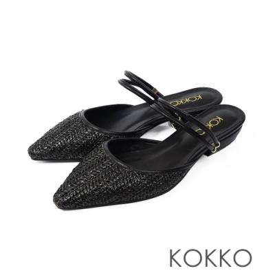 KOKKO -度假風麻編穆勒鞋-穩重黑