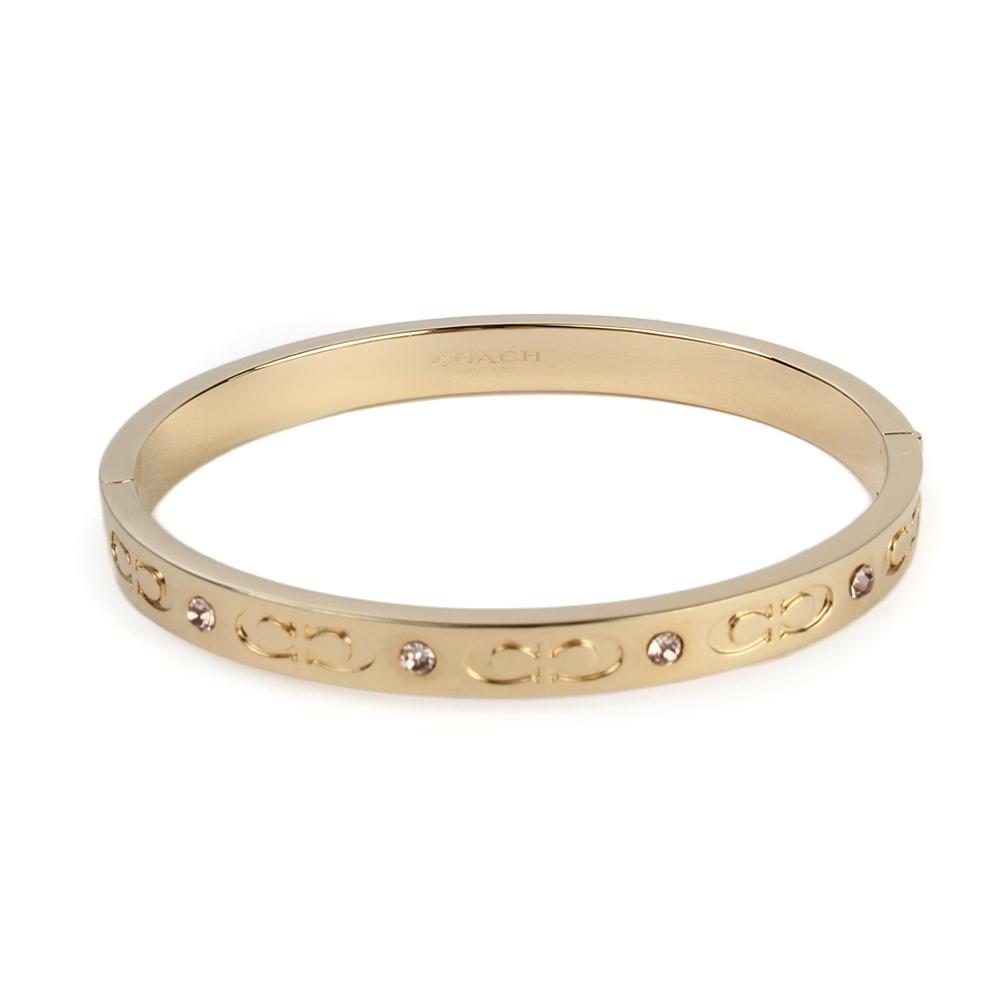 COACH 經典雙C LOOG壓印亮鑽綴飾手環-金