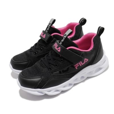 Fila 慢跑鞋 J801U 運動 魔鬼氈 童鞋 輕量 透氣 舒適 避震 中大童 黑 粉 3J801U112