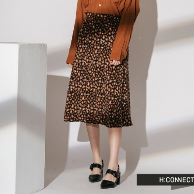 H:CONNECT 韓國品牌 女裝-都會感豹紋中長裙-黑