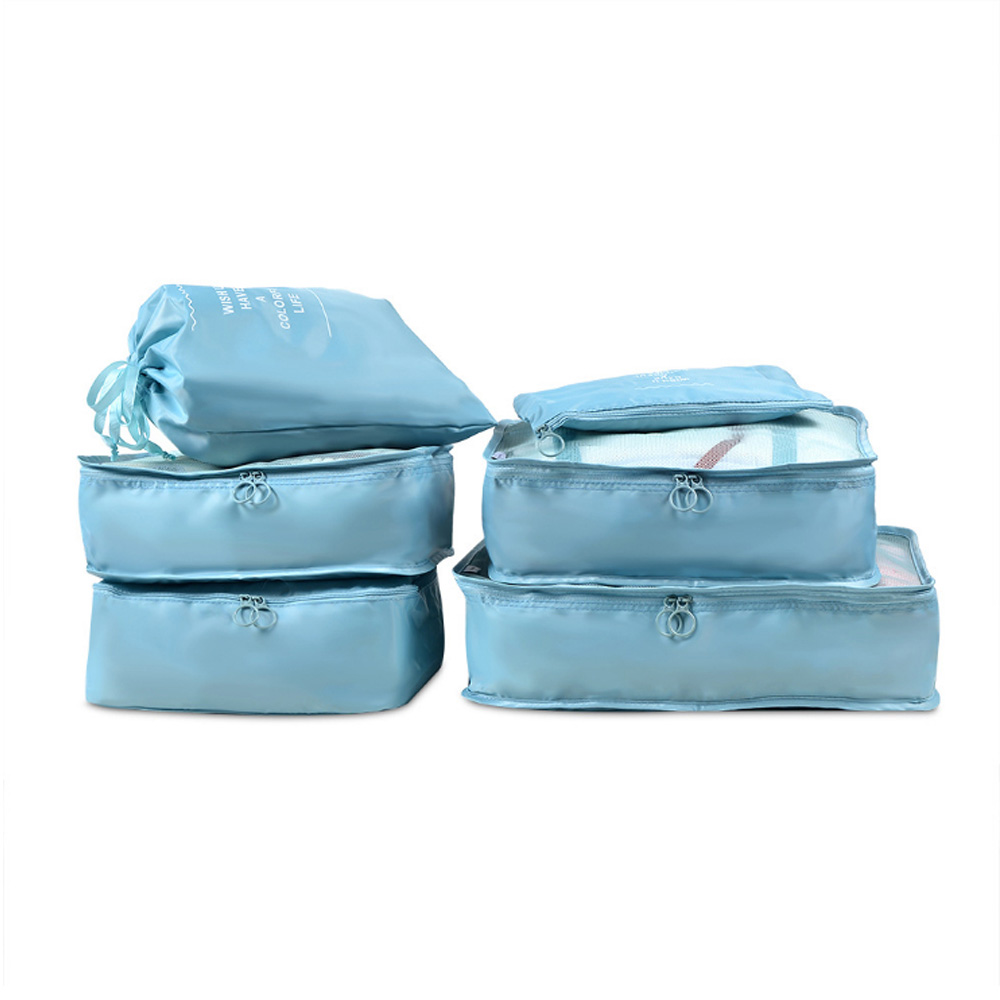 PUSH!旅遊用品旅行收納袋行李箱衣物整理收納包袋套裝(6件套雅緻型)天藍色S55-1