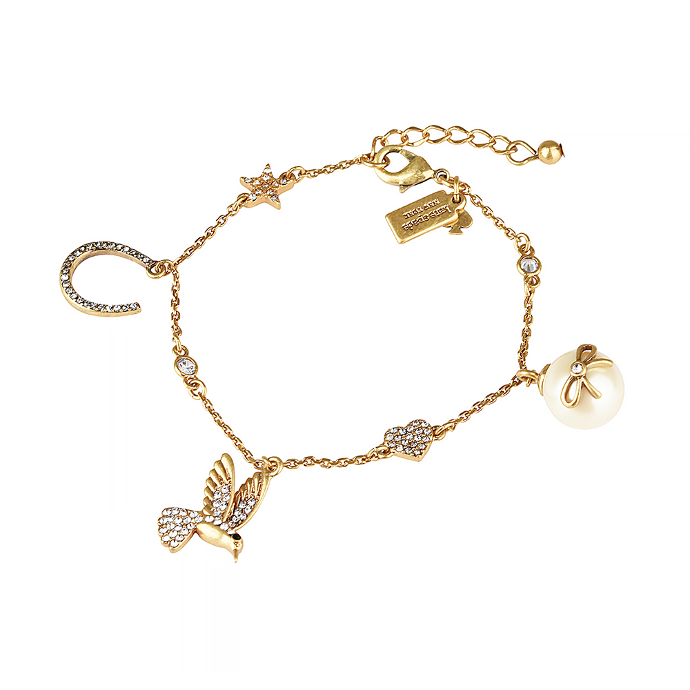 kate spade經典多樣圖案設計鑽鑲飾手鍊(金)