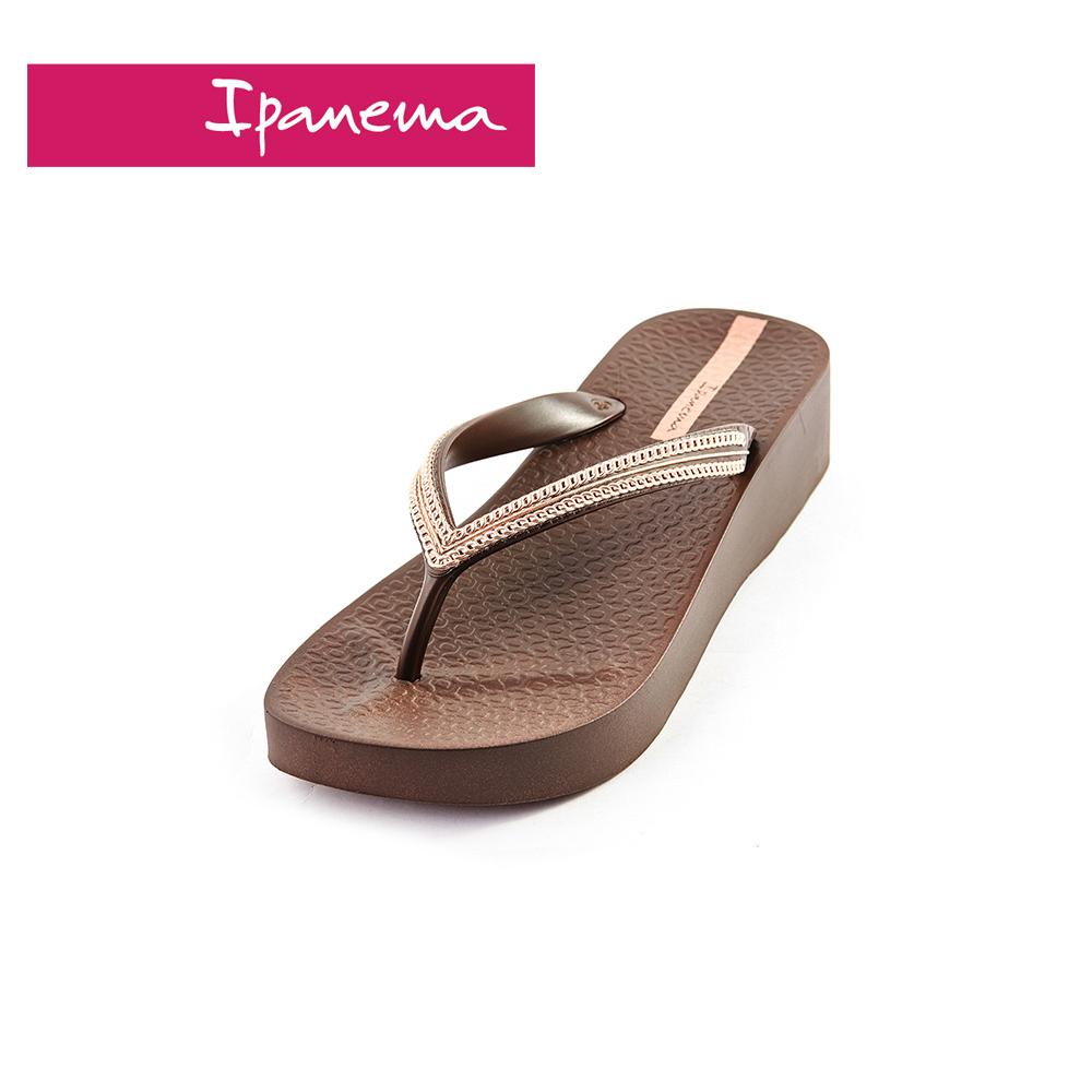 IPANEMA MESH IV PLAT系列 厚底人字拖鞋-咖啡色