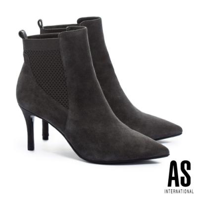 短靴 AS 異材質拼接羊麂皮素面尖頭高跟短靴-綠