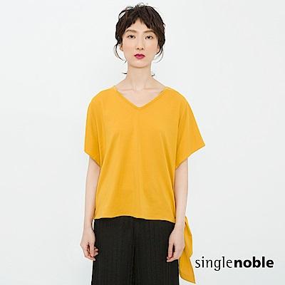 獨身貴族 清新女子V領側綁帶純棉上衣(3色)