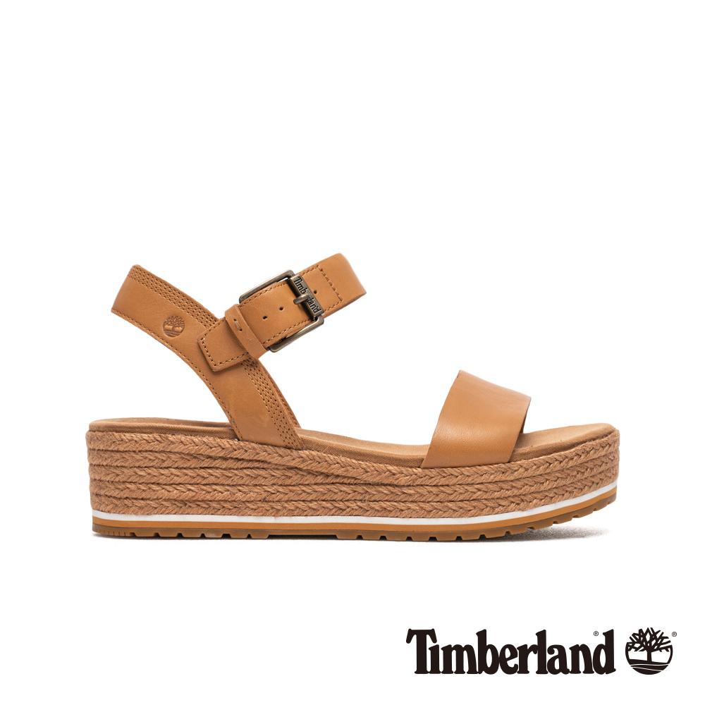 Timberland 女款淺棕色全粒面草編厚底涼鞋 A1Z1R