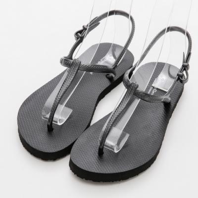 River&Moon涼鞋 台灣製時尚T字夾腳海灘涼拖鞋 黑