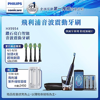 【Philips 飛利浦】鑽石靚白智能音波震動牙刷/電動牙刷HX9954/52(深邃藍)