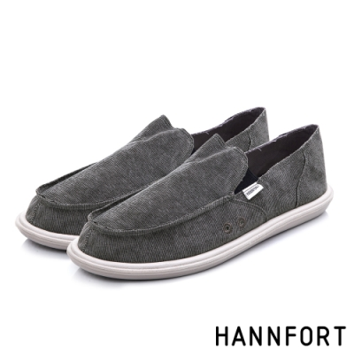 HANNFORT COZY可機洗平織布後踩氣墊鞋-男-復古灰