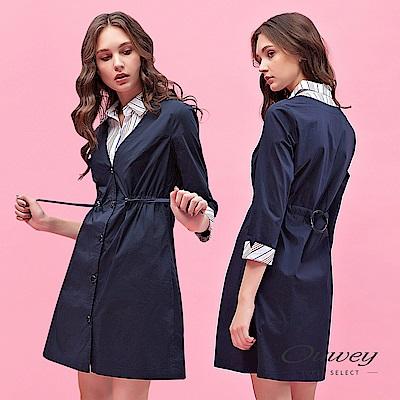 OUWEY歐薇 風衣造型兩件式條紋洋裝(可)