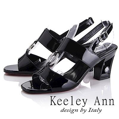 Keeley Ann雅緻低調~水鑽圓形飾釦漆皮質感粗跟涼鞋(黑色-Ann系列)