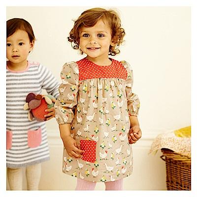 歐美little maven 女童純棉長袖長版T恤連身裙-田園風光