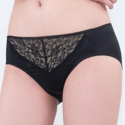 思薇爾 深V誘惑系列M-XXL蕾絲中腰三角內褲(黑色)