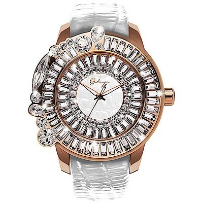 Galtiscopio迦堤 SHINY SIMPLE 華麗舞台手錶-玫塊金框/50mm