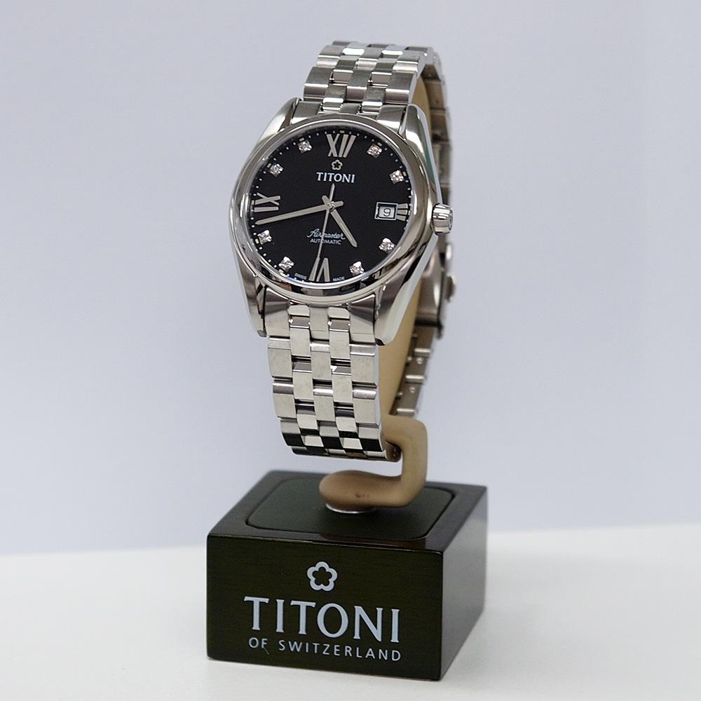 (福利品) TITONI瑞士梅花錶 空中霸王系列(83909 S-354)-黑色/38.5mm