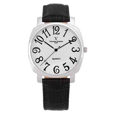 Valentino Coupeau 范倫鐵諾 古柏 萊茵香頌腕錶 銀殼 白面 黑皮帶