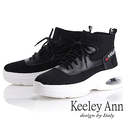 Keeley Ann 個性玩酷~韓版襪套式氣墊休閒鞋(黑色-Ann)