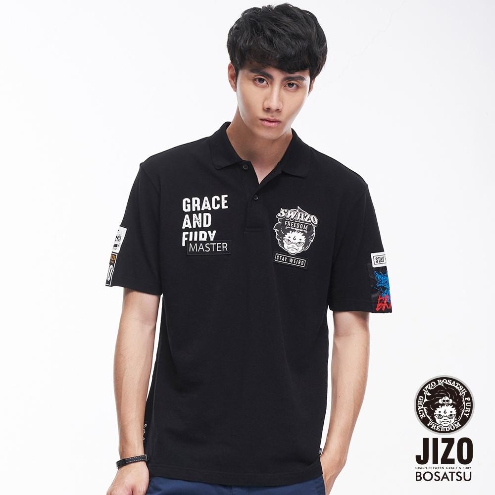地藏小王 BLUE WAY - 文字貼標短POLO衫(黑)