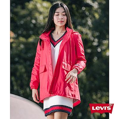 Levis 女款 連帽外套 防水潑水風衣設計 桃紅