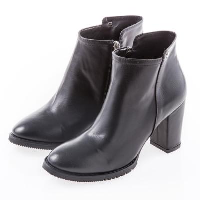 Camille's 韓國空運-素面拉鍊粗高跟短踝靴-黑色