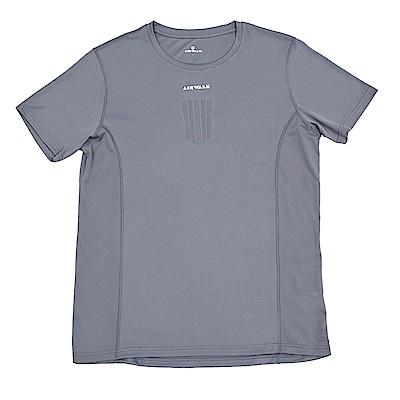 【AIRWALK】盾牌孔洞透氣設圓領T恤-深灰