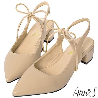 Ann'S赴約-前綁帶蝴蝶結拉帶粗跟尖頭鞋-杏(版型偏小)